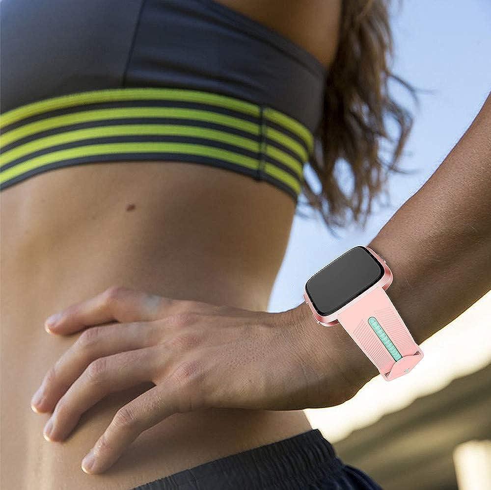 Cyond Sports Montre de Fitness étanche pour Homme et Femme Bracelet de Rechange avec Fermoir en métal en Acier Inoxydable pour Fitbit Versa Lite Rose Bonbon