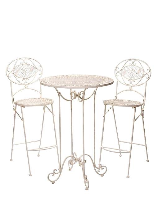 Salon de Jardin - 1 Table Haute et 2 chaises de Bar - Style ...