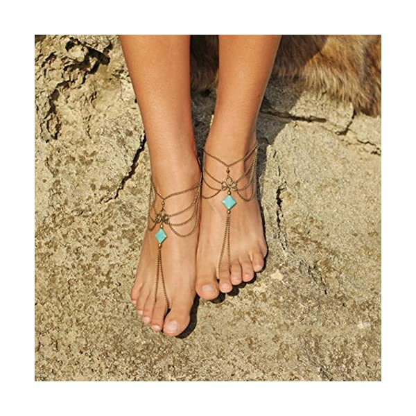 WeiMay 1 X Elegante multi-strato Nappa cavigliera catena donne braccialetto alla caviglia sandalo a piedi nudi piede… 2 spesavip