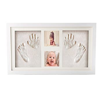 Toddlers Birthday Presents Memorable Keepsakes Gift for New Born Baby Shower or Christening Gift Baby Handprint /& Footprint Picture Frame Kit Pure Vie Gorgeous Keepsake Frame with Clay Imprint Kit
