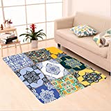 Nalahome Custom carpet Multi Set of Islamic and Portuguese Tile Patterns in Various Tones and Textures Boho Print Multi area rugs for Living Dining Room Bedroom Hallway Office Carpet (5' X 7')