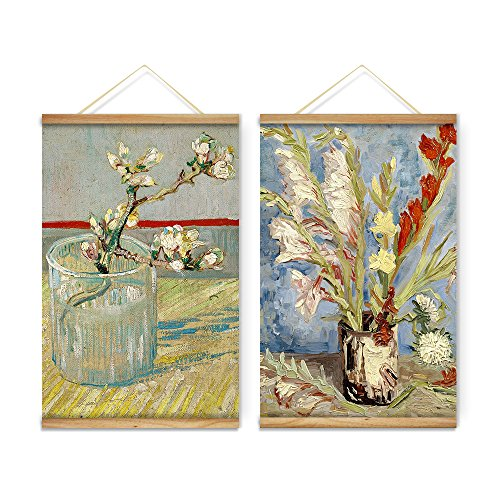 2 Pieces Impressionism Van Gogh Still Life Vase Flowers Chry