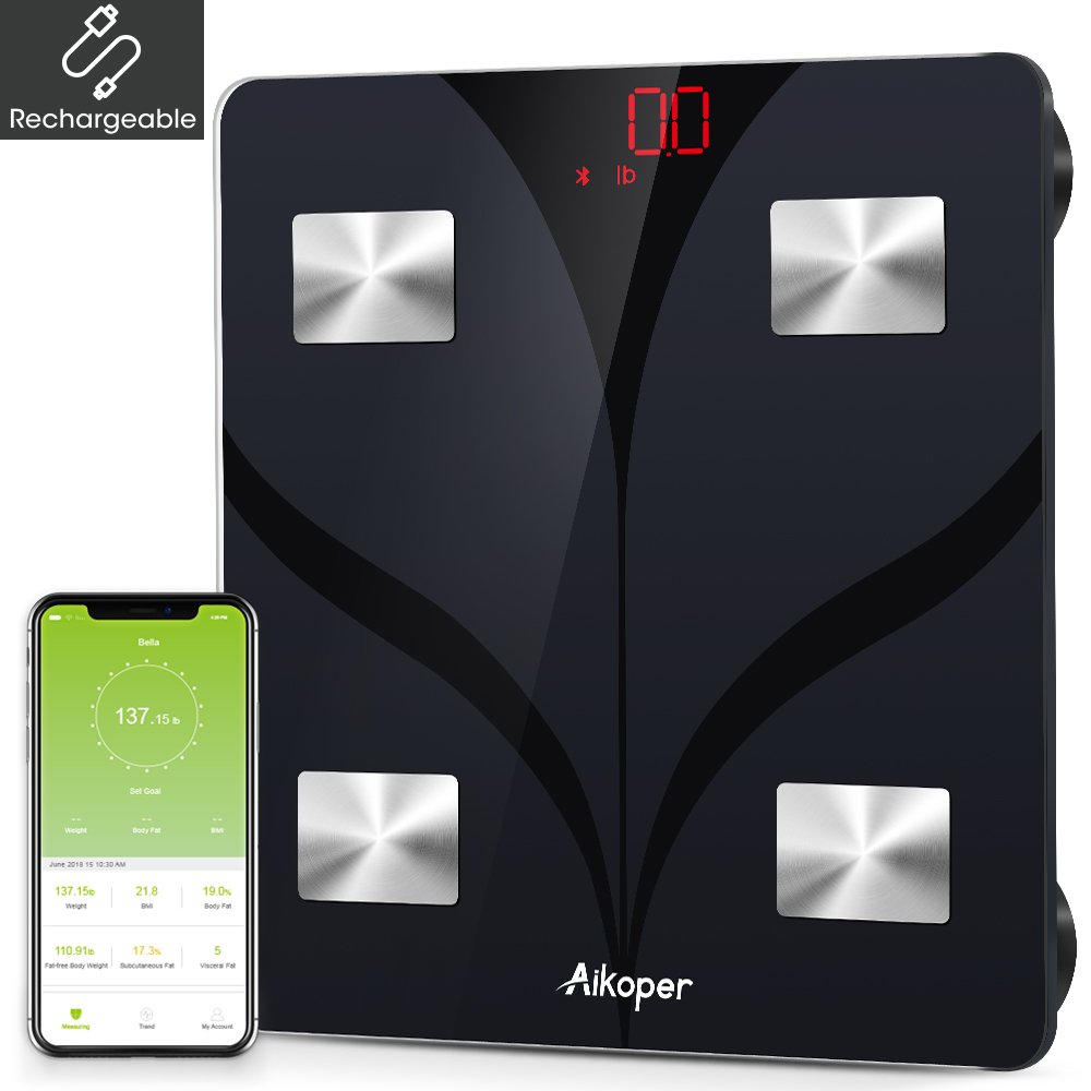 Aikoper Bluetooth Smart Scale Digital Weight and Body Fat Scale, Wireless BMI Bathroom Weight Scale USB Rechargeable with 13 Essential Measurements, Body Composition Analyzer with iOS & Android APP