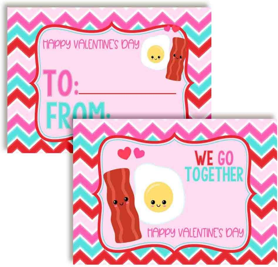 We Go Together Like Bacon & Eggs Food Themed Valentine's Day Cards for Kids to give to Friends & Classmates, Thirty (30) 3.5