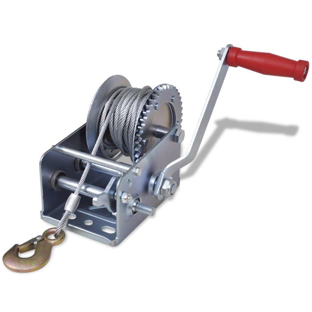 vidaXL Treuil manuel 907 kg 10 m Treuil à câble Treuil à main pour remorque auto bateau