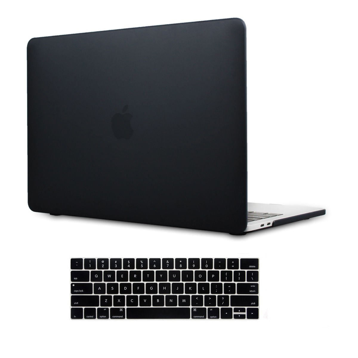 MacBook Pro 13n Matte Case Keyboard cover 2017 & 2016 Plastic Hard Shell Cover for MacBook Pro 13.3'' A1706/A1708 Touch Bar (Black)