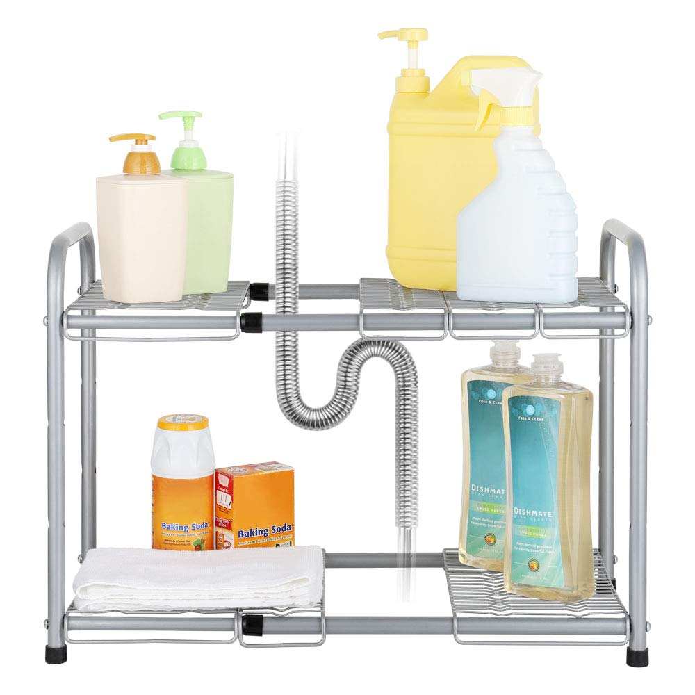 Under Sink Storage Organizer, 2 Tier Under Kitchen Sink Storage, Expandable Shelf Organizer Rack Height Adjustment for Bathroom, Garden by Terby