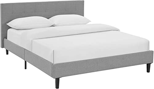 Modway Linnea Upholstered Light Gray Queen Platform Bed