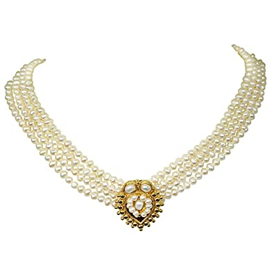Buy surat diamonds 4 line gold plated pendant freshwater pearl surat diamonds 4 line gold plated pendant freshwater pearl necklace for mozeypictures Image collections