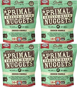 Primal Freeze-Dried Nuggets Chicken Formula for Dogs 56oz (4 x 14oz) ...