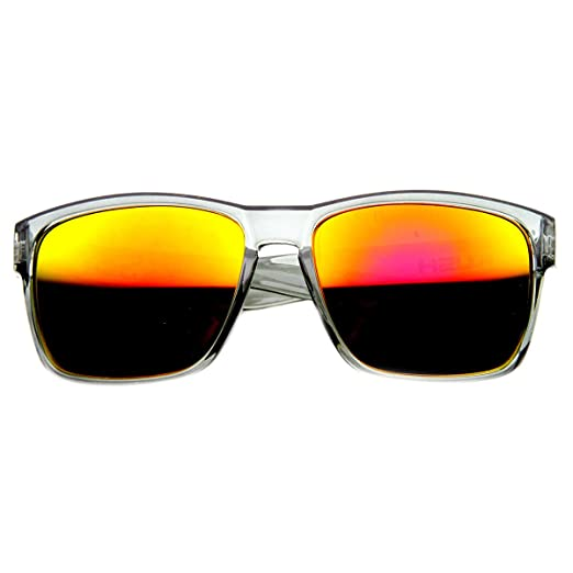 8a80a3f03 Crystal Action Sports Square Frame Sunlasses with Flash Lens (Clear-Grey  Fire)
