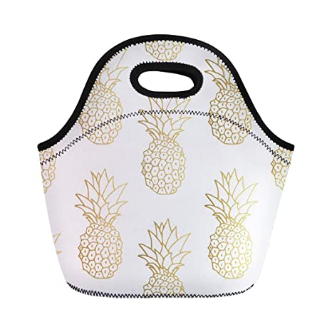 711bea954f54 Semtomn Lunch Tote Bag Green Pattern Gold Pineapple Yellow Tropical Golden  Fruit White Reusable Neoprene Insulated Thermal Outdoor Picnic Lunchbox for  ...