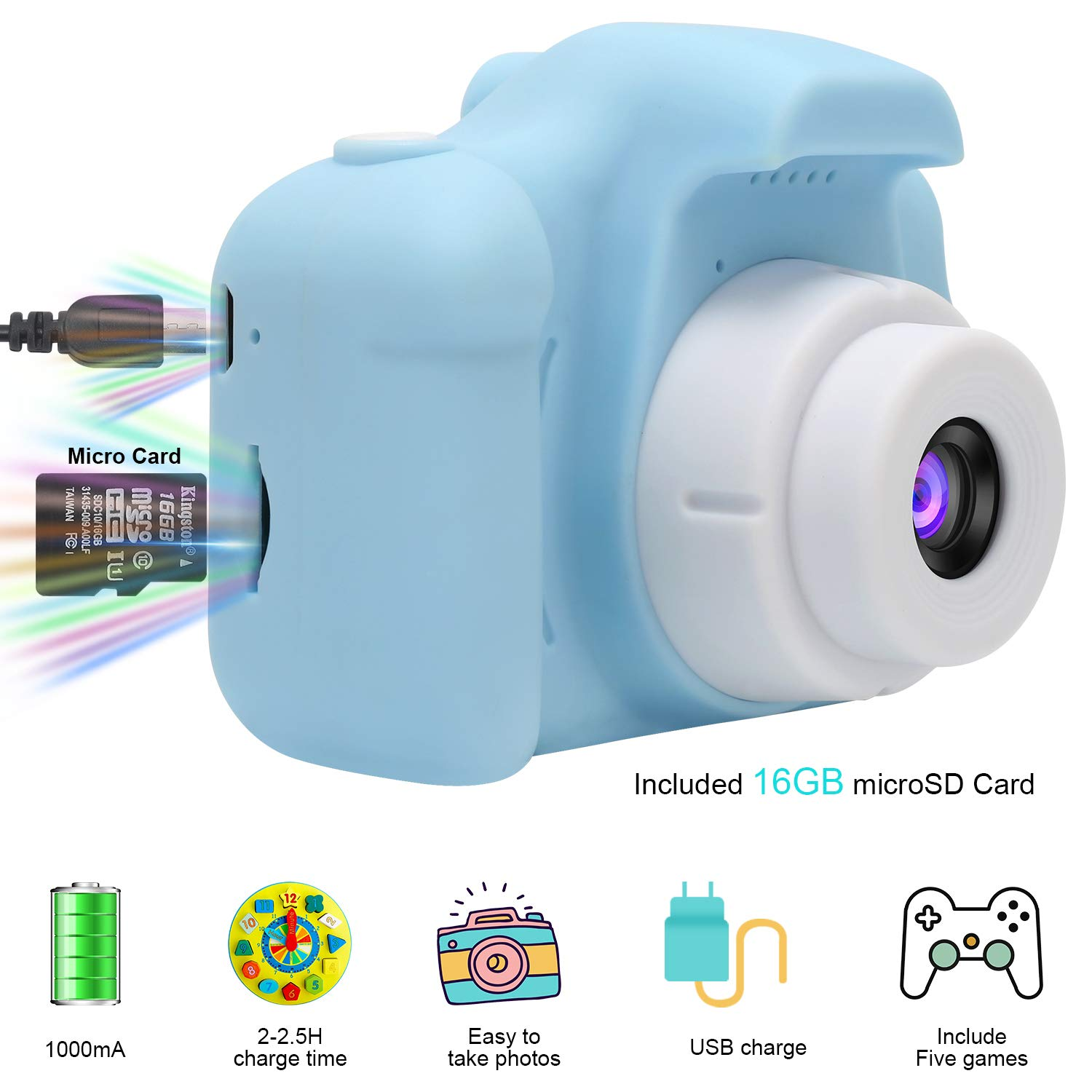 DDGG Kids Digital Camera Toy Camera HD Kids Video Cameras Shockproof Cameras with Soft Silicone Shell Gift for 4-10 Years Old Girls Boys Party Outdoor Play (16G SD Card Included) by DDGG (Image #4)