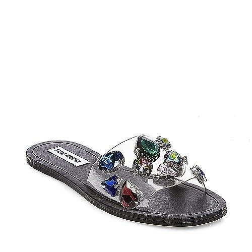 9360897f739e Steve Madden Women s Rosalyn Slide Flat Sandal Black Multi 5.5 ...