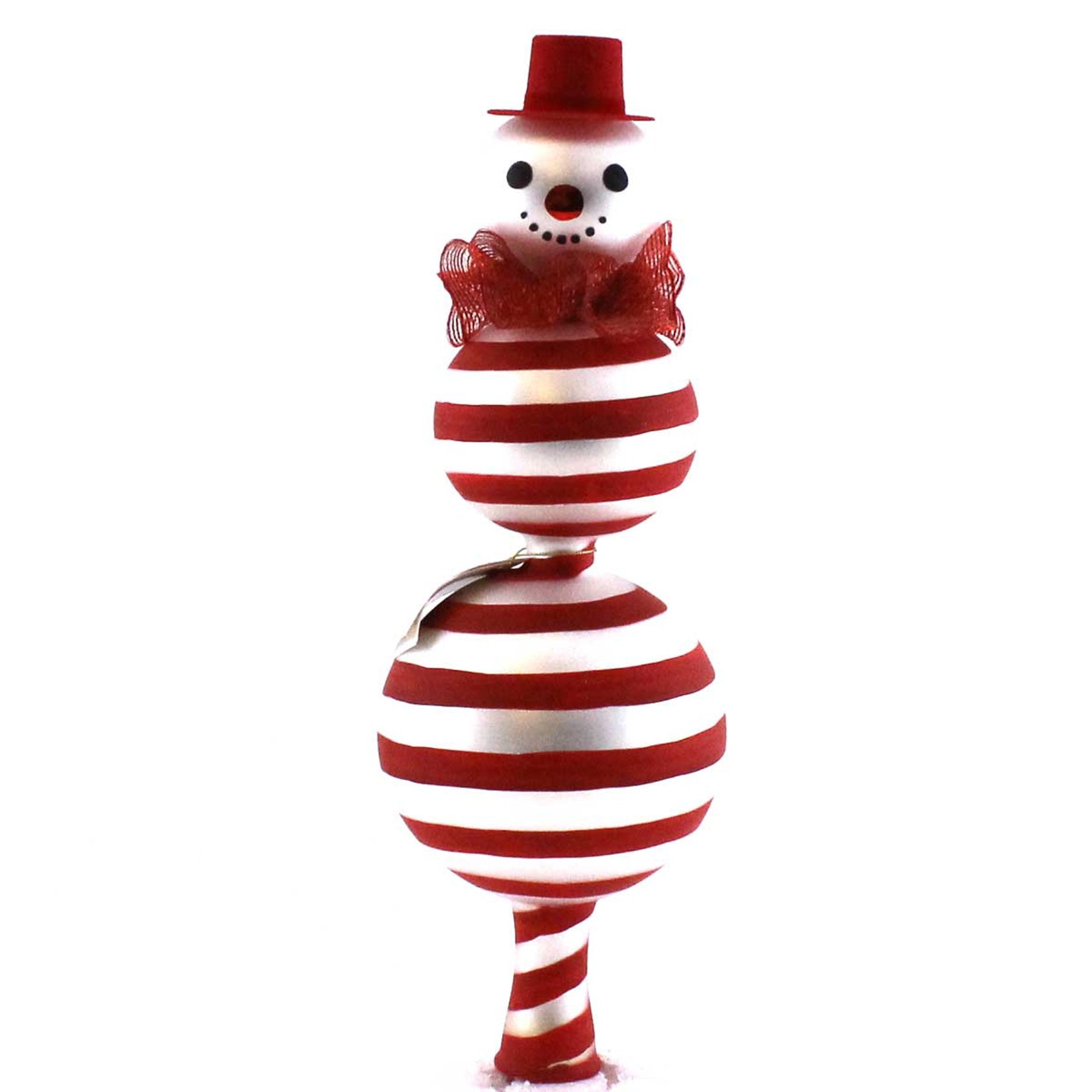 Laved Italian Ornaments PEPPERMINT SNOWMAN FINIAL Glass Christmas Italian TP5172