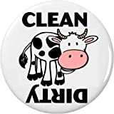 "Clean / Dirty (Cow black & white) 2.25"" Magnet Dishes Dishwasher Kitchen"