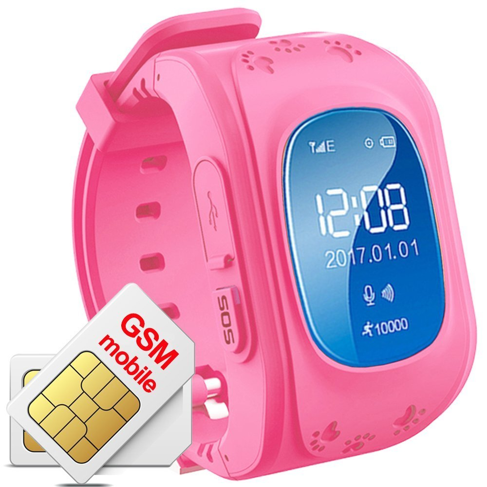 TKSTAR Q50 GPS Kids Watch Tracker,2 Way Calls Anti Lost GPS Watch Phone Tracking Tmobile , Pedometer,Sleep Monitor Sim card Slot -Pink