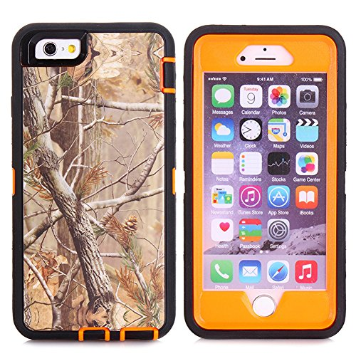 "Kecko®For iphone 6 Plus Camo Case, Defender Tough Armor Camo Tree Shockproof Impact Weather Resistant Hybrid Camouflage Military Duty Case for iphone 6 Plus 5.5"" W/ Built-in Screen Protector"