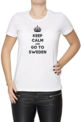 Keep Calm And Go To Sweden Mujer Camiseta Cuello Redondo Blanco Manga Corta Todos Los Tamaños Women'...