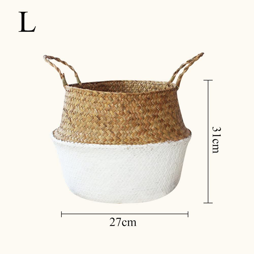 Picnic L Laundry Twilight Natural Woven Seagrass Tote Belly Basket Straw Weave Basket for Storage and Beach Bag Plant Pot Cover