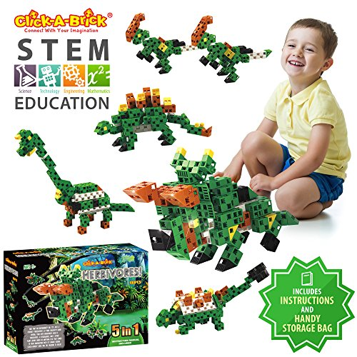 Click-A-Brick Herbivores! 100pc Building Blocks Set | Best STEM Toys for Boys & Girls Age 5 6 7 Year Old | Fun Kids 3D Construction Puzzle | Top Educational Learning Gift for Children Ages 5-10
