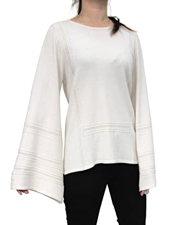 eadce6b4148c0 Anna Smith For Ladies Plus Size Top Long Sleeves Pointelle Cable Stitch  Solid Cream Large X Large  Amazon.co.uk  Clothing