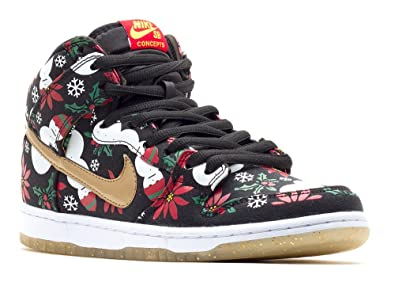 ca87ab918bc9e Nike Mens Dunk High SB PRM CNCPTS Ugly Sweater Package Black Metallic Gold  Fabric Skateboarding