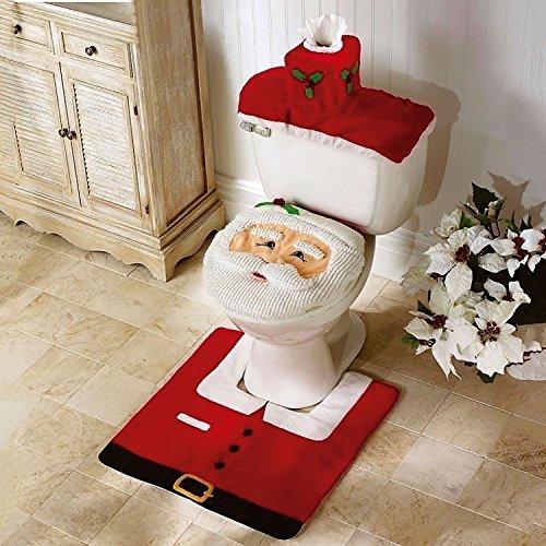 GohEun 3 Pcs Happy Santa Toilet Seat Cover Rug Bathroom Set Decoration Christmas (Santa Suit Ebay)