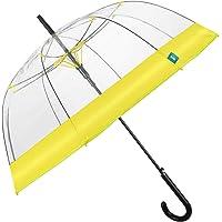 Paraguas Mujer Transparente Banda Colorada - Paraguas Forma a Cúpula Automático - Paraguas Resistente en Fibra de Vidrio…