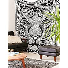 Tapestry Queen Tiger Hippie tapestries Mandala Bohemian Psychedelic Intricate Indian Bedspread 92x82 Inches Aakriti Gallery