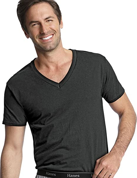 fb8e7ac5755012 Hanes Men s Traditional Fit ComfortSoft Dyed Blk V-Neck Undershirt 3 -Pack Blk S