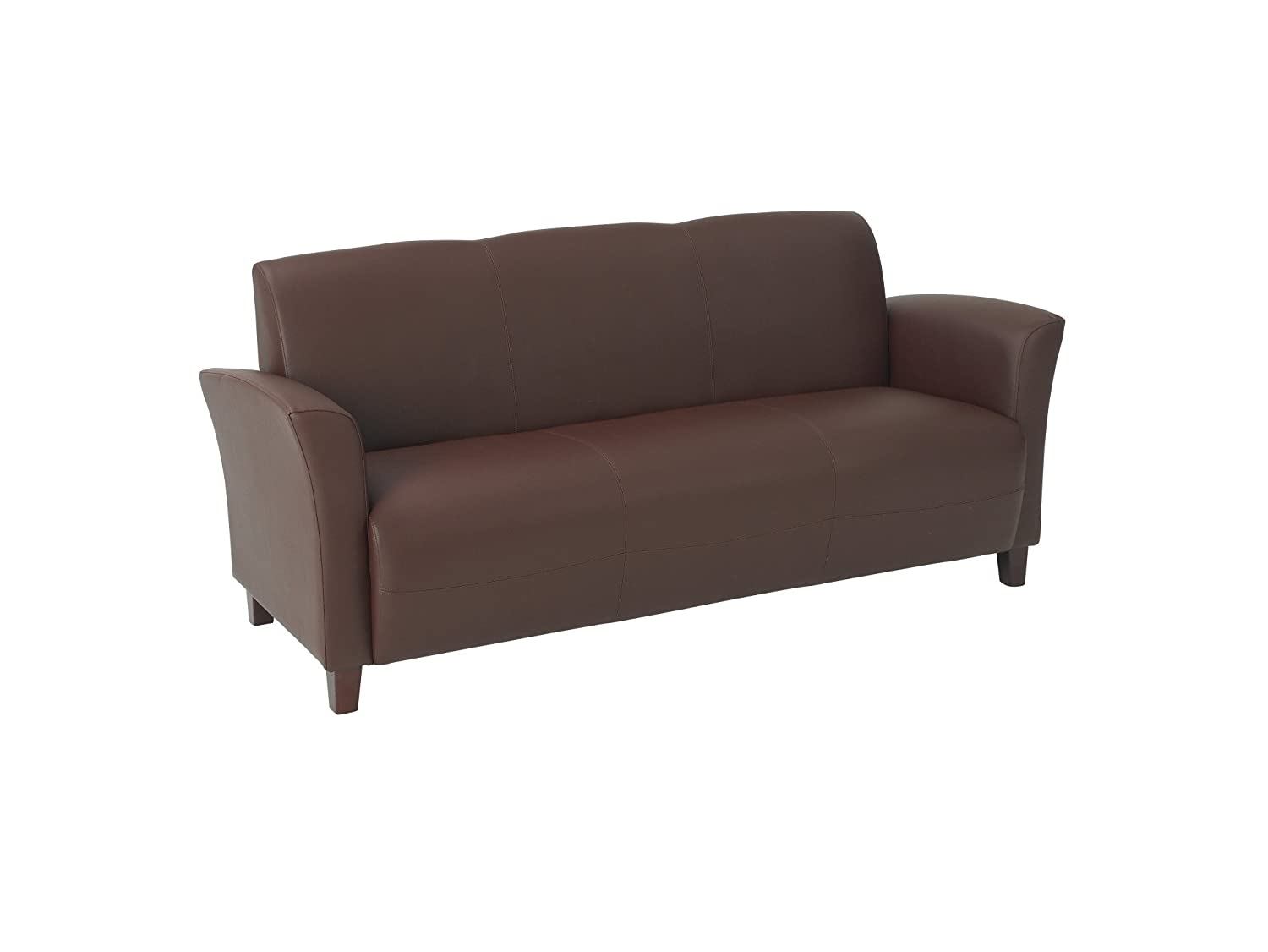 Office Star Breeze Wine Eco Leather Sofa with Cherry Finish Legs