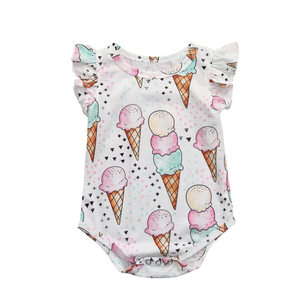 Festwolf Baby Girls Romper Ice Cream Print Jumpsuit Outfits Playsuit Clothes