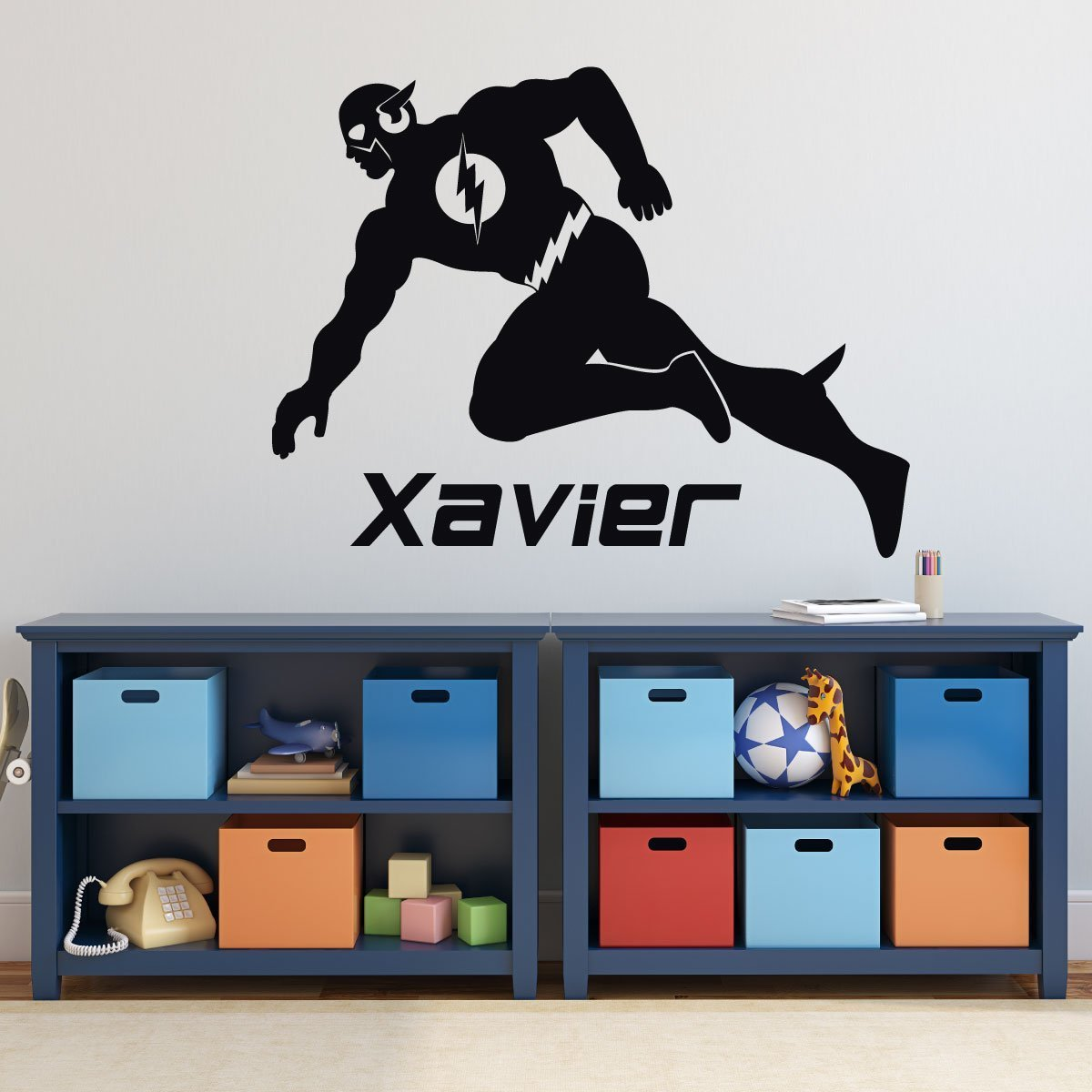 Personalized Name Flash Super Hero Nursery Baby Boy Decoration Wall Decal