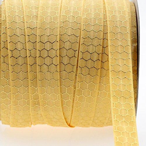Midi Ribbon Stretch Gold Honeycomb Printed Fold Over Elastic Band 5/8