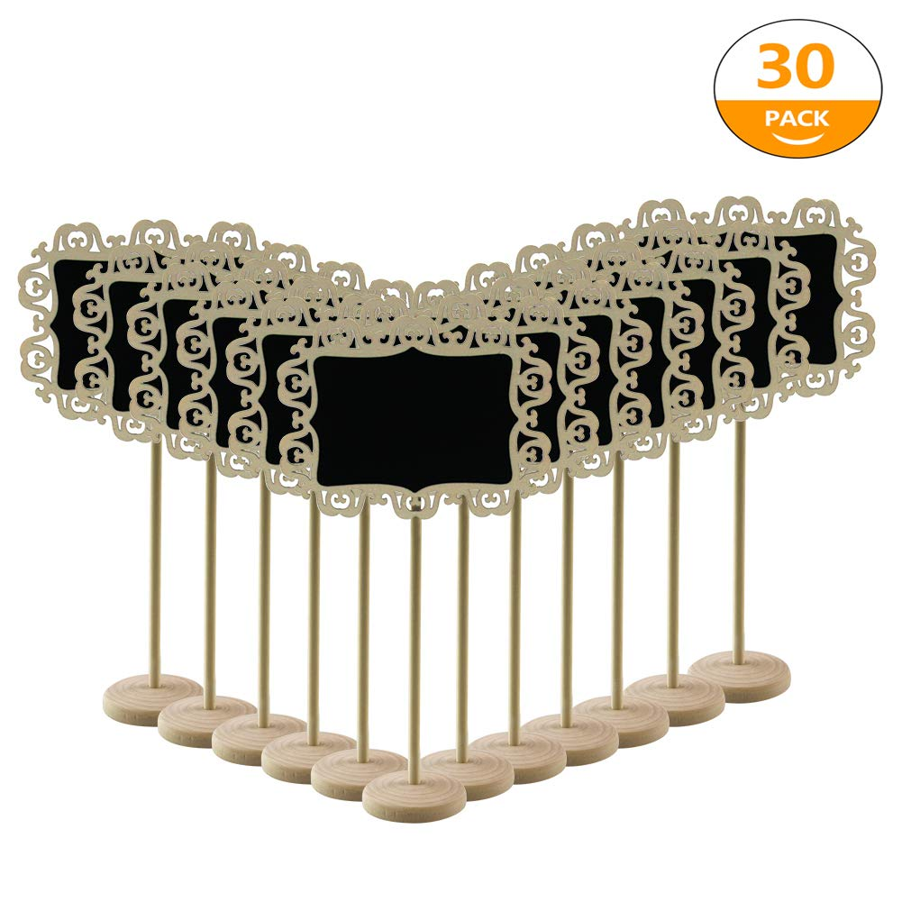 Hangnuo 20 PCS Mini Chalkboards Signs with Stand, Wood Blackboard Message Board Signs for Wedding Party Table Numbers Food and Place Cards