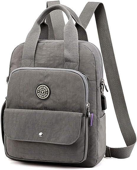 Nylon Backpack Purse for Women, JOSEKO Casual Handbag USB Charging Student Bag Purse Fashion Travel Backpack Shoulder Bag Dark Grey Medium