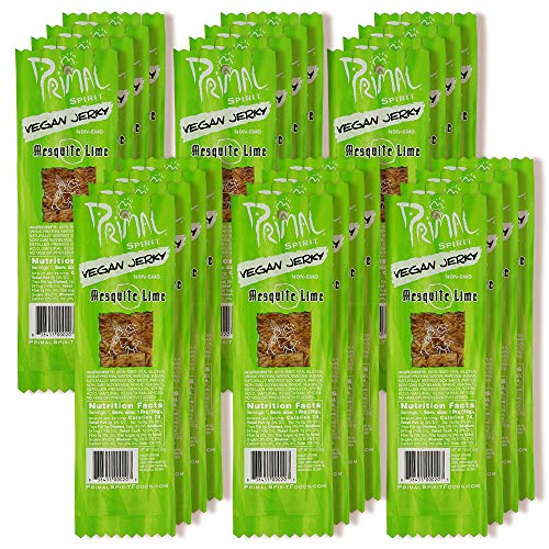 """(Primal Spirit Vegan Jerky – """"Classic Flavor"""" – Mesquite Lime, 10 g. Plant Based Protein, Certified Non-GMO, No Preservatives, Sports Friendly Packaging (24 Pack, 1 oz))"""