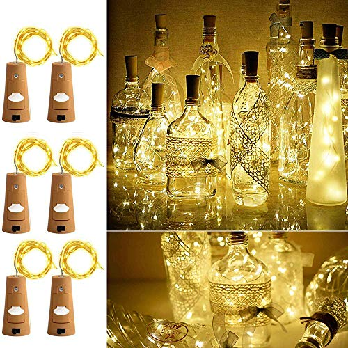 (Aokely Wine Bottle Lights with Cork 20 LED Copper Wire String Lights, Pack of 6 Battery Operated Starry String Led Lights for Bottles DIY Christmas Wedding Party Decoration (Warm White))