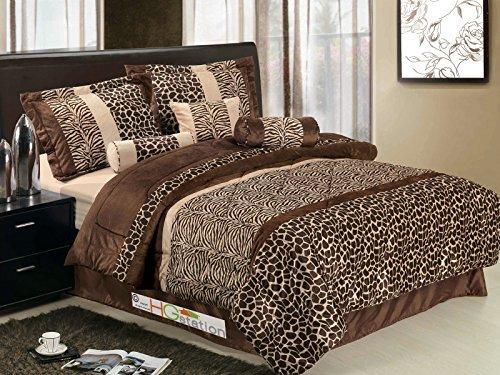 African Bedskirt - 7-Pc Micro Faux Fur Animal Skin Zebra Giraffe African Safari Comforter Set Brown Queen