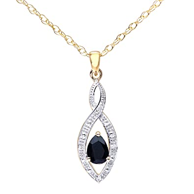 Naava Women's 9ct Yellow Gold Sapphire Necklace
