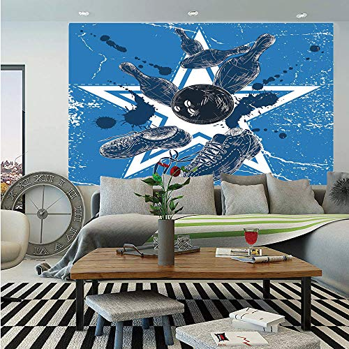 Bowling Party Decorations Removable Wall Mural,Grunge Composition Star Figure Color Splashes Shoes Pins,Self-Adhesive Large Wallpaper for Home Decor 66x96 inches,Blue Black White