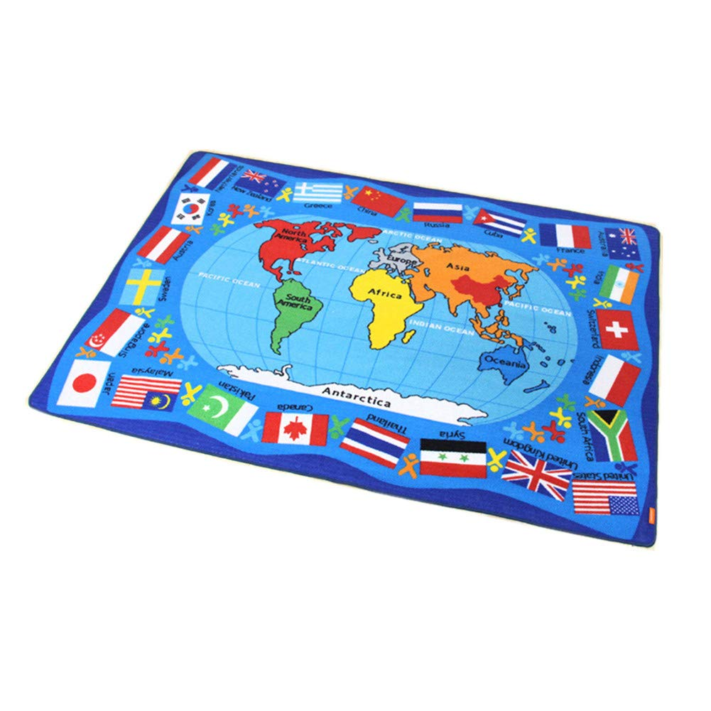 Encounter G Around The World Carpet Soft Toddler Learning Toys Ideal for Children Crawling and Sports Activities Blue Mats Cartoon World Map Mats,WorldMap1,133190CM by Encounter G (Image #1)