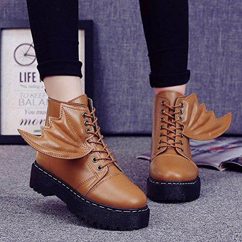 Boots Womens Flat Diablo Belt Wings Martin Boots Boots , rojo , EUR37
