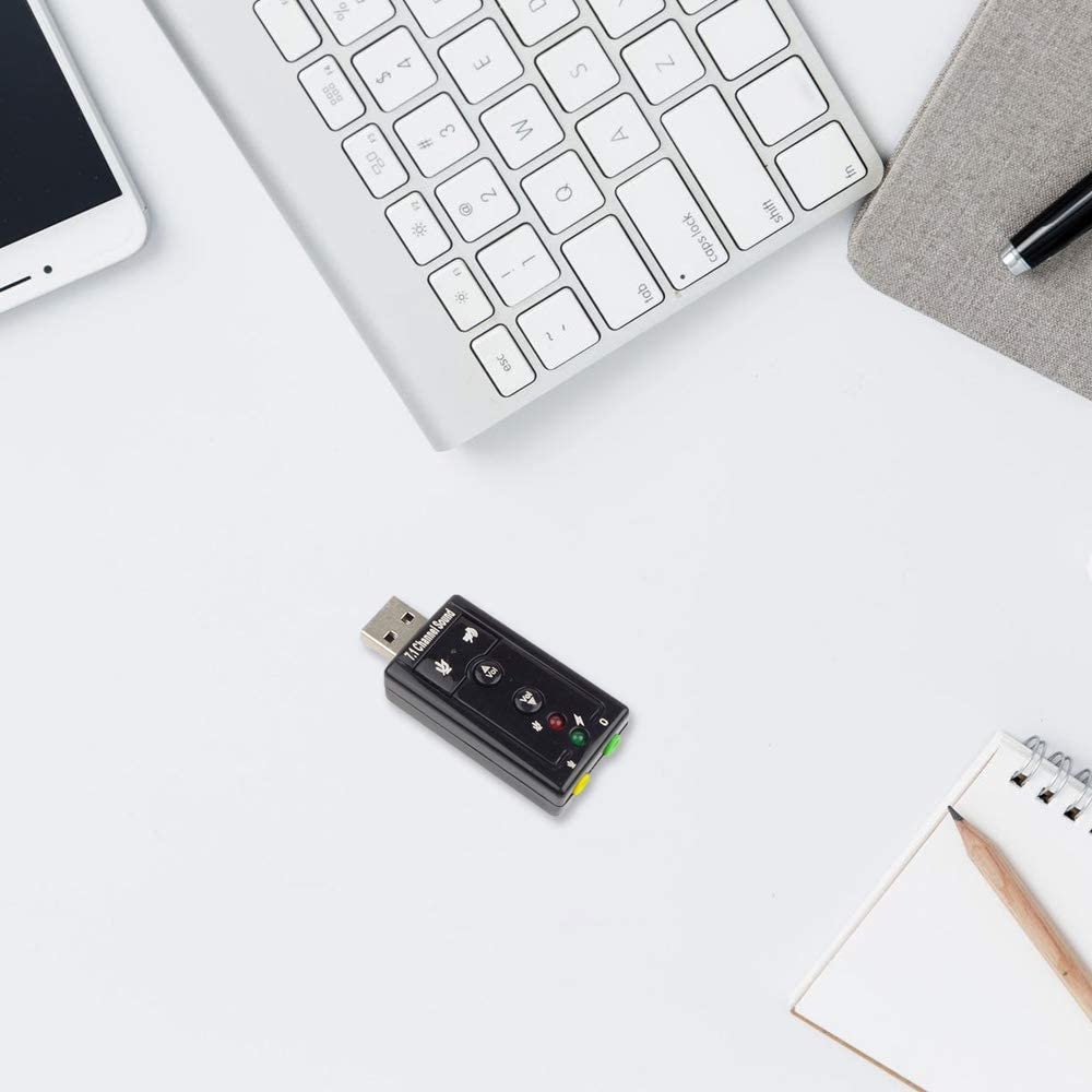 FairytaleMM USB Soundkarte 7.1 Kanal USB Externe Soundkarte 3D Surround Sound Mit Soundkarte mit Knopfsteuerung