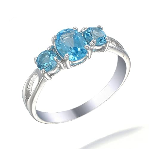 Sterling Silver 3 Stone Swiss Blue Topaz Ring 1.20 CT