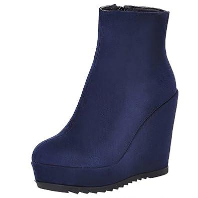 AIYOUMEI Damen Wildleder Keilabsatz Stiefeletten mit Plateau High Heels Herbst Winter Wedge Stiefel Schuhe 8NLVe1t