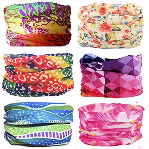 KALILY 6PCS Headband Bandana - Versatile Flower Sports & Casual Headwear -Multifunctional Seamless Neck Gaiter, Headwrap, Balaclava, Helmet Liner, Face Mask for Camping, Running, Cycling, Fishing etc