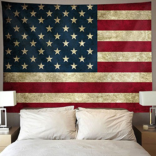 (AMERICAN TANG Vintage American Flag Wall Tapestry Hippie Art Tapestry Wall Hanging Home Decor Extra large tablecloths 60x70 inches For Bedroom Living Room Dorm Room)