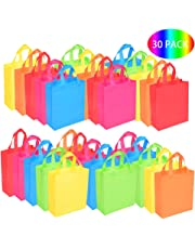 BOENFU 30 Pcs Christmas Party Bags with Handles Non-Woven Gift Tote Bags Toy Goody Sweet Bags for Kids' Birthday, Halloween, Christmas, Thanks Giving Days, Wedding Party Supplies